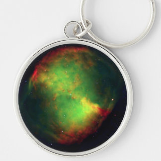 NASAs Dumbbell Nebula Silver-Colored Round Key Ring