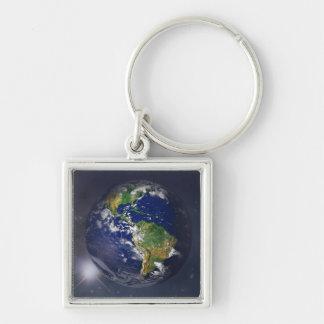 NASAs Earth rising II Silver-Colored Square Key Ring