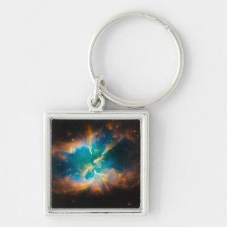 NASAs NGC2818 nebula Silver-Colored Square Key Ring