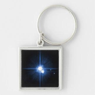 NASAs Pluto and Charon Silver-Colored Square Key Ring