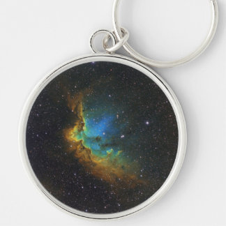 NASAs SH2-142 star cluster Silver-Colored Round Key Ring
