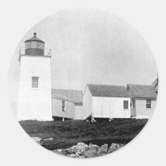 Nash Island Lighthouse Round Stickers