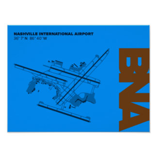 Nashville Airport (BNA) Diagram Poster