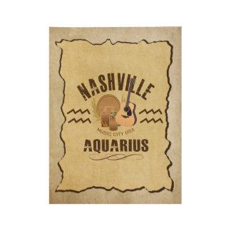 Nashville Aquarius Zodiac Wood Poster -BRN