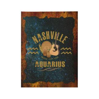 Nashville Aquarius Zodiac Wood Poster -GLD