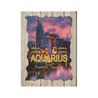 Nashville Aquarius Zodiac Wood Poster -MC
