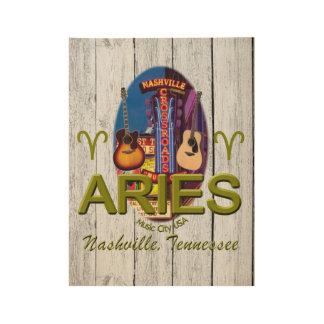 "Nashville Aries, 19"" x 14.5"" Wood Poster"