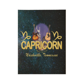 "Nashville Capricorn , 19"" x 14.5"" Wood Poster"