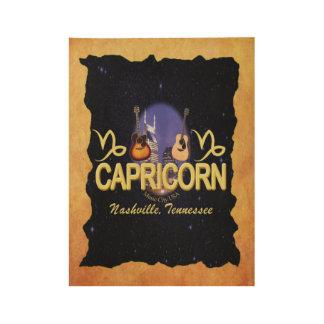 Nashville Capricorn Zodiac Wood Poster -BLU