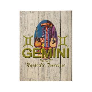"Nashville Gemini, 19"" x 14.5"" Wood Poster"