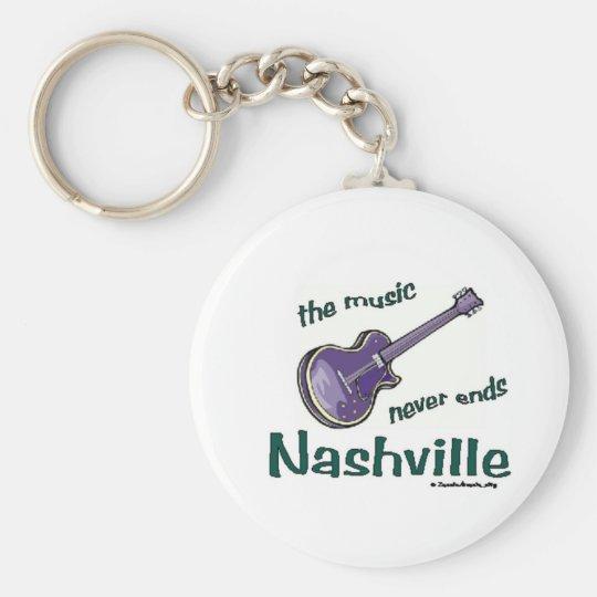 Nashville Guitar Basic Round Button Key Ring