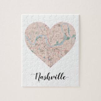 Nashville Heart Map Jigsaw Puzzle
