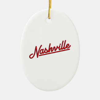 Nashville in Red Ceramic Oval Decoration