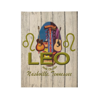"Nashville Leo, 19"" x 14.5"" Wood Poster"