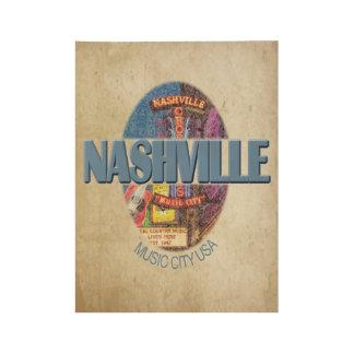 "Nashville Music City , 19"" x 14.5"" Wood Poster"