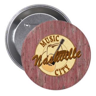 Nashville Music City 3 Inch Round Button