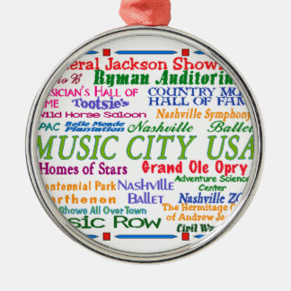 Nashville Music City Silver-Colored Round Decoration