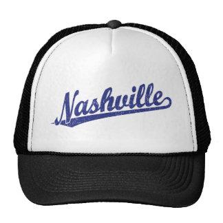 Nashville script logo in blue distressed cap