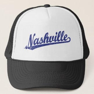 Nashville script logo in blue distressed trucker hat