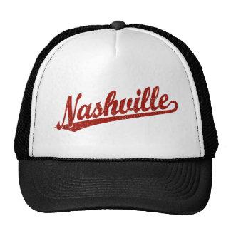 Nashville script logo in red distressed cap