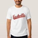 Nashville script logo in red distressed shirt