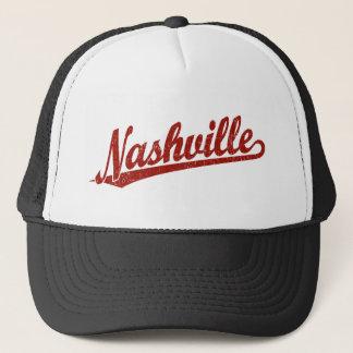 Nashville script logo in red distressed trucker hat