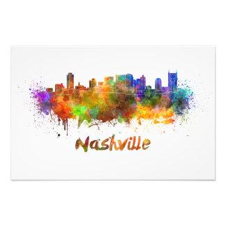 Nashville skyline in watercolor art photo