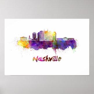 Nashville skyline in watercolor poster