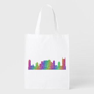 Nashville skyline reusable grocery bag