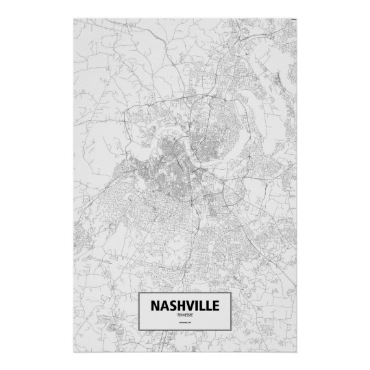 Nashville, Tennessee (black on white) Poster