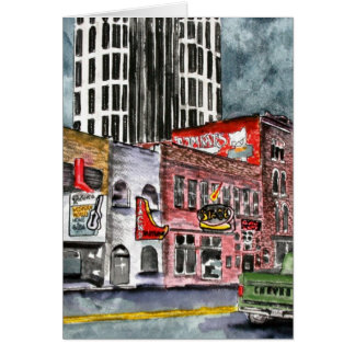 nashville tennessee country music capital art greeting card