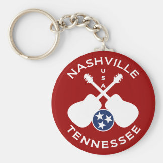 Nashville, Tennessee USA Basic Round Button Key Ring