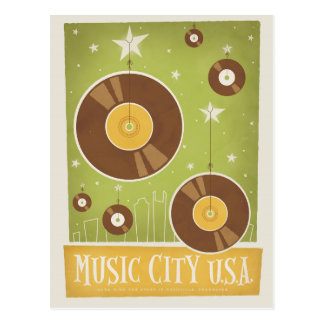 Nashville, TN - Records Postcard