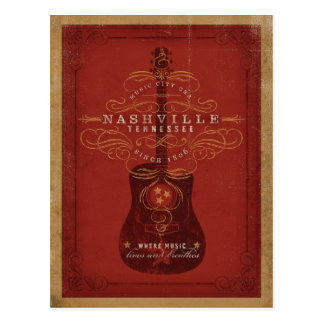 Nashville, TN - Red Guitar Postcard