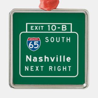 Nashville, TN Road Sign Christmas Ornament