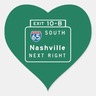 Nashville, TN Road Sign Heart Sticker