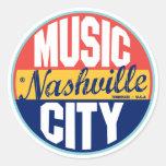 Nashville Vintage Label Classic Round Sticker
