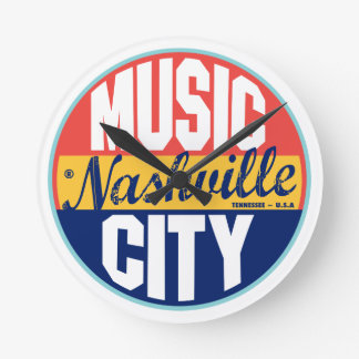Nashville Vintage Label Round Clock