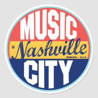 Nashville Vintage Label Round Sticker