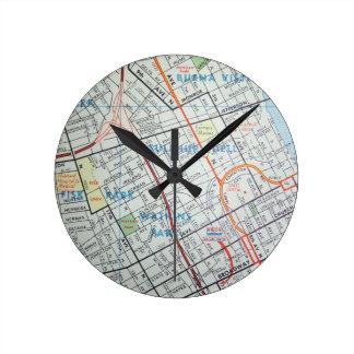 NASHVILLE Vintage Map Round Clock