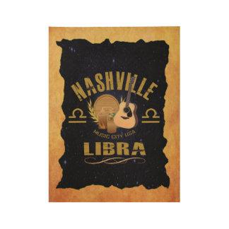 Nashville Zodiac Libra Wood Poster - GLD