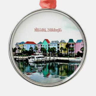 Nassau Bahamas Marina Silver-Colored Round Decoration