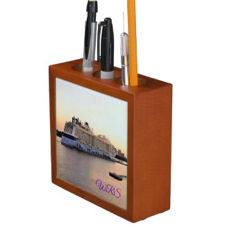 Nassau Daybreak with Cruise Ship Monogrammed Desk Organiser