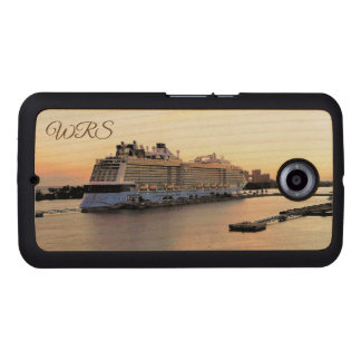 Nassau Harbor Daybreak and Cruise Ship Monogrammed Wood Phone Case