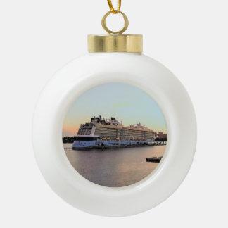 Nassau Harbor Daybreak with Cruise Ship Ceramic Ball Christmas Ornament