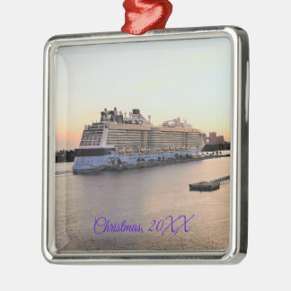 Nassau Harbor Daybreak with Cruise Ship Dated Christmas Ornament