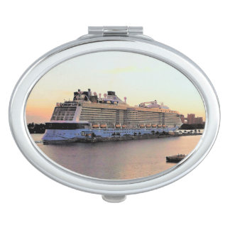 Nassau Harbor Daybreak with Cruise Ship Mirror For Makeup