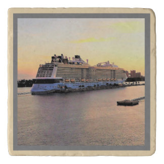 Nassau Harbor Daybreak with Cruise Ship Trivet
