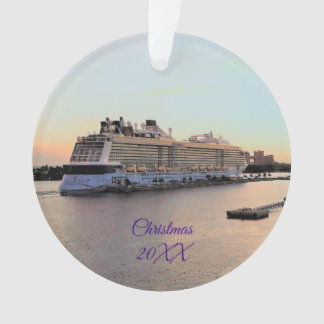 Nassau Harbor with Cruise Ship Dated Personalized Ornament