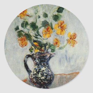 Nasturtiums in a Blue Vase by Monet Classic Round Sticker
